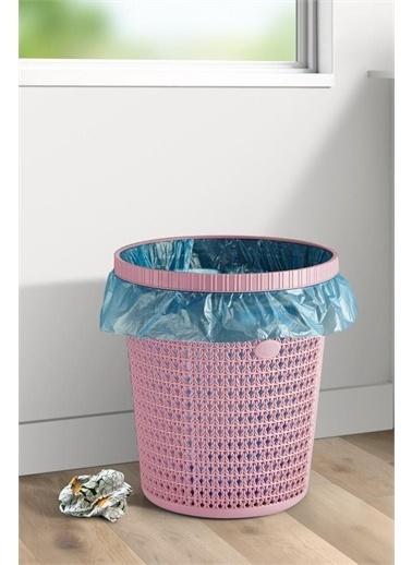 Arma House Örgü Desenli Poşet Hazneli Kapaklı Pudra Renkli Çöp Kovası Ve Çöp Poşeti 12 Lt Renkli